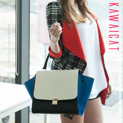 バッグ通販〜KawaiCatブランドの【ba11055】3つのカラーが綺麗な調和を見せてくれるシックなデザインが◎♪3カラー配色デザイン2Wayトートバッグ