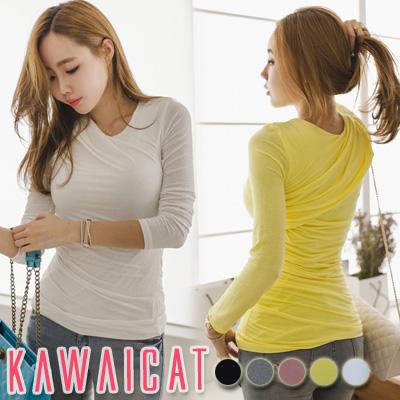 【ts11086】ベーシックなデザインでどんなコーデにも合わせやすいシャーリングポイント長袖Tシャツ(5色)