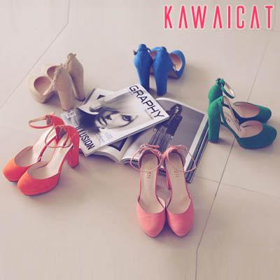 靴通販〜KawaiCatブランドの【sh11121】華やかなカラーバリエーションで爽やかな印象を与えてくれる♪足首ストラップで安定感のあるラウンドトゥパンプスヒール(ストーム: 3Cm ヒール : 11Cm)