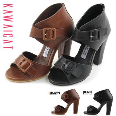 靴通販〜KawaiCatブランドの【shs11124】安定感のある太目のヒールと二つのバックルデザインで洗練された印象に♪オープントゥサンダルヒール