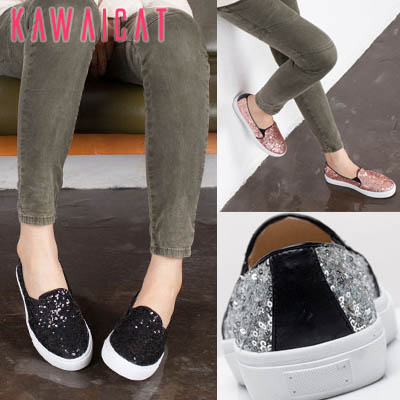 靴通販〜KawaiCatブランドの【sh11135】オールスパンコールデザインで存在感抜群♪パンツやスカートにもピッタリなスパンコールスリッポンスニーカー(ヒール :2Cm)