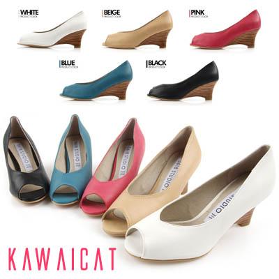 靴通販〜KawaiCatブランドの【sh11136】足の甲がVラインになっているので足を綺麗に演出♪ウッドヒールデザインのウェッジパンプスヒール(ヒール :7.5Cm)