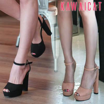 靴通販〜KawaiCatブランドの【sh11159】安定感のあるウッドヒールで履き心地◎ストラップ付きウッドヒールサンダル(ストーム2.5cm・ヒール12cm)