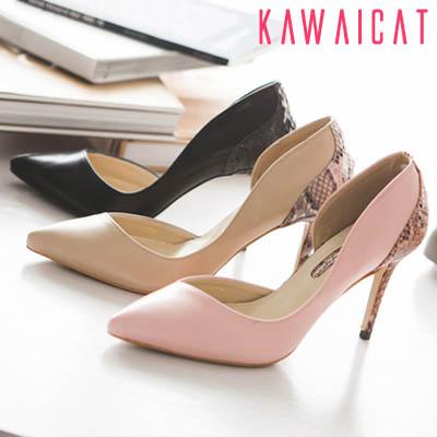 靴通販〜KawaiCatブランドの【sh11160】インサイドオープンデザインとかかとのパイソン柄がお洒落♪パイソン柄配色パンプスヒール(ヒール : 8.5Cm)