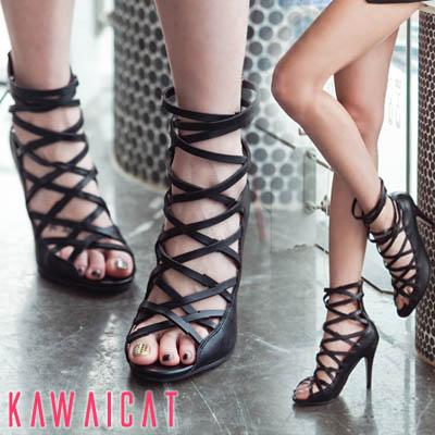 靴通販〜KawaiCatブランドの【sh11161】足首にボリューム感を与えてすっきりとした印象を与えてくれるグラディエーターサンダル(ヒール:9cm)