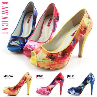 靴通販〜KawaiCatブランドの【sh11162】絵のようなデザインの花柄デザインがお洒落♪フラワー柄ポイントオープントゥヒール(ストーム : 2Cmヒール11.5Cm)