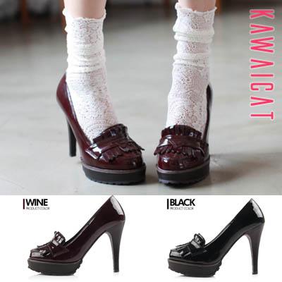 靴通販〜KawaiCatブランドの【sh11163】つま先の短いスタイルでキュートながらハイヒールで脚長効果アリ♪ローファーパンプスヒール(ストーム : 3Cm ヒール: 11.5Cm)