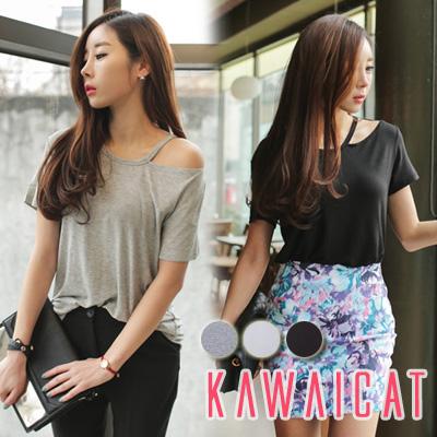 シャツ通販〜KawaiCatブランドの【C-style】【ts11165】ロング丈にルーズなシルエットで体型カバーもしっかりこなす片側肩あき半袖Tシャツ