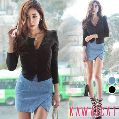 スカート通販〜KawaiCatブランドの【sk11174】斜め線デザインが入っていてセクシー♪脚細効果のある斜線ジッパースカート