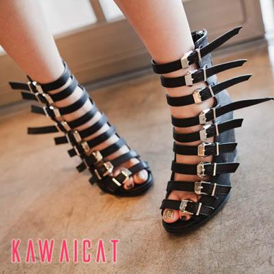 靴通販〜KawaiCatブランドの【sh11185】足元にポイントを与えてくれるベルトがポイント☆ウッドヒールベルトグラディエーターサンダル(ヒール:9cm)