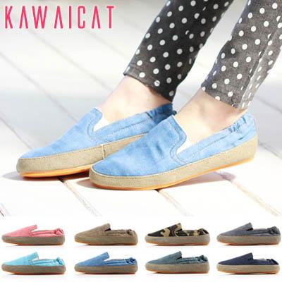 靴通販〜KawaiCatブランドの【sh11202】布素材で軽くて歩きやすいスリムアイテムです♪バンディング処理で履きやすさ抜群のスリッポン(ヒール :1Cm)(8カラー)