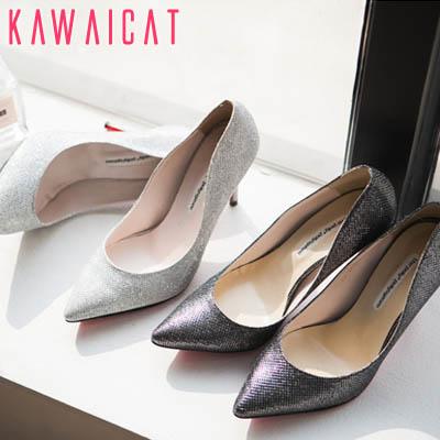 靴通販〜KawaiCatブランドの【sh11203】ほのかにパール感のある高級感を演出してくれる♪セクシーでお洒落なメタルパールパンプスヒール(ヒール : 8Cm)