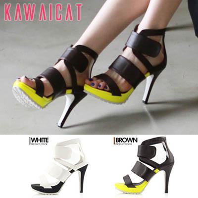 靴通販〜KawaiCatブランドの【sh11252】クリアデザインの透け感がGOOD♪しっかりしたストラップで履き心地の良いワイドストラップヒールサンダル(ストーム :2Cm ヒール : 11Cm)