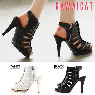 靴通販〜KawaiCatブランドの【sh11253】かかとオープンデザインでよりセクシーに肌魅せ♪グラディエーターデザインのヒールサンダル(ストーム : 3Cm ヒール: 12Cm)