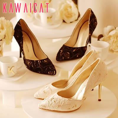 靴通販〜KawaiCatブランドの【sh11254】ゴールドカラーのローズデザインで高級感のあるスタイルに♪ゴールドレースパンプスヒール(ヒール : 9Cm)