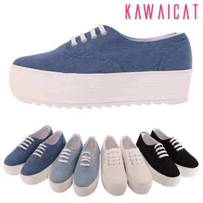 靴通販〜KawaiCatブランドの【sh11278】シンプルな布素材のデザインでシークレットソールが背を高く魅せてくれる♪シンプルデザインのシークレットソールスニーカー(ソール: 4.5Cm)