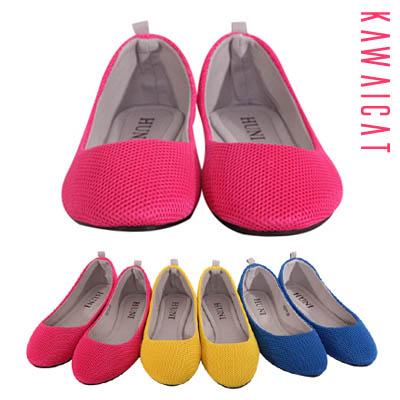 靴通販〜KawaiCatブランドの【sh11293】軽量で快適な履き心地を与えてくれるフラットアイテム♪メッシュ素材でキュートなカラーフラットシューズ(ソール :0.5Cm)