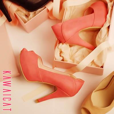 靴通販〜KawaiCatブランドの【sh11295】スカートやパンツ、スーツやカジュアル、どんなスタイルにも合わせやすい♪カットデザインオープントゥパンプスヒール(ストーム: 3Cm ヒール : 11Cm)