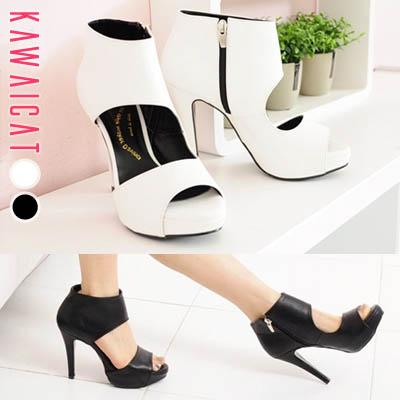 靴通販〜KawaiCatブランドの【sh11334】シンプルながらユニークなデザインで洗練されたシックな印象に仕上がる♪フロントオープンデザインパンプスヒール(ストーム: 3Cm ヒール : 11.5Cm)