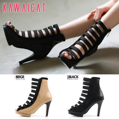 靴通販〜KawaiCatブランドの【sh11336】ボーダーラインのようにサイドから入るラインデザインがユニーク♪肌魅せでセクシーなラインポイントパンプスヒール(ストーム: 1.5Cm ヒール : 10Cm)