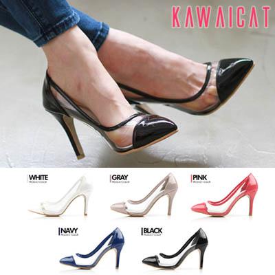 靴通販〜KawaiCatブランドの【sh11349】サイドラインにクリアデザインでスッキリとしたセクシーな印象に♪エナメルポインテッドトゥパンプスヒール(ヒール :9cm)