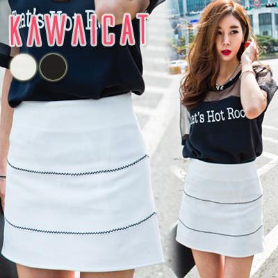 スカート通販〜KawaiCatブランドの【sk11355】Aラインのデザインでレッグラインをスマートに演出してくれる2ラインポイントスカート