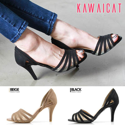 靴通販〜KawaiCatブランドの【sh11362】フロントメッシュデザインでセクシーな印象を与えてくれる♪サイドオープンメッシュ配色パンプスヒール(ヒール :8.5Cm)