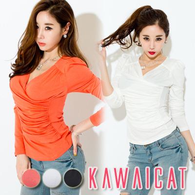 シャツ通販〜KawaiCatブランドの【C-style】【ts11385】バストラインを作ってくれるラップデザインシャーリング長袖Tシャツ