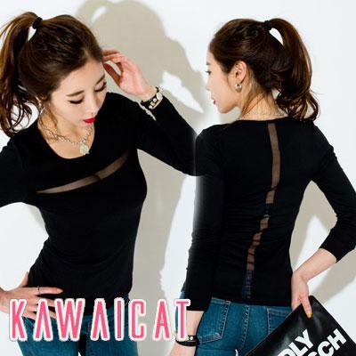 シャツ通販〜KawaiCatブランドの【C-style】【ts11386】メッシュラインポイントUネック長袖Tシャツ