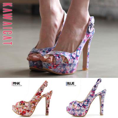 靴通販〜KawaiCatブランドの【sh11392】サテン素材で高級感のある花柄デザインが◎♪リボンポイントストラップのオープントゥパンプス(ストーム : 3Cmヒール : 13Cm)