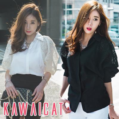 シャツ通販〜KawaiCatブランドの【C-style】【ts11396】バルーン袖とシフォンのエアリー感で女性らしいラグジュアリーなシルエットが完成☆バルーン袖刺繍ポイントシフォンブラウス