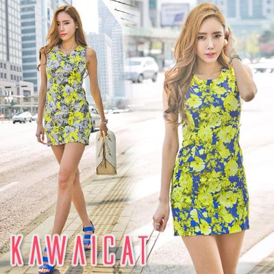 ワンピース通販〜KawaiCatブランドの【C-style】【op11399】スリムなデザインに華やかな花柄プリントで女性らしさ溢れる花柄デザインノースリーブワンピース