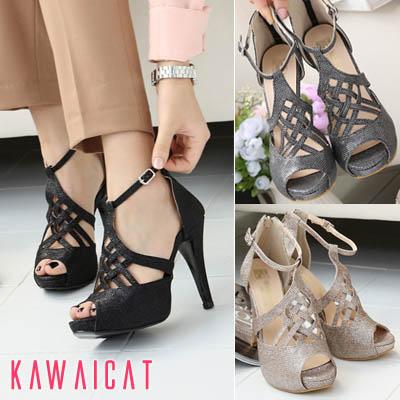 靴通販〜KawaiCatブランドの【sh11405】ほのかなパール感がお洒落な印象を与えてくれる♪ダイヤ編みデザインのオープントゥヒールサンダル(ストーム :2.5Cm ヒール : 10Cm)