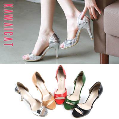 靴通販〜KawaiCatブランドの【sh11417】インサイドオープンデザインで爽やかセクシー♪夏にも履きやすいオープントゥヒール(9.5cm)