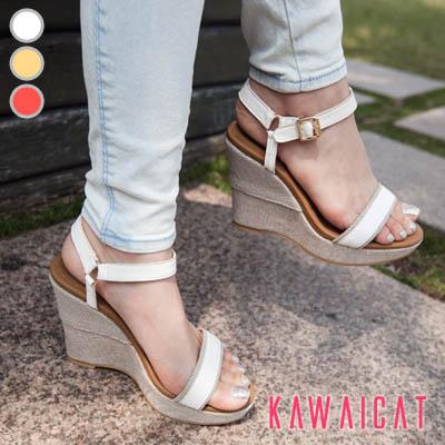 靴通販〜KawaiCatブランドの【sh11418】すっきりとしたデザインでどんなスタイルにも合わせやすい♪シンプルなストラップウェッジヒールサンダル(ストーム :3Cm ヒール : 11.5Cm)