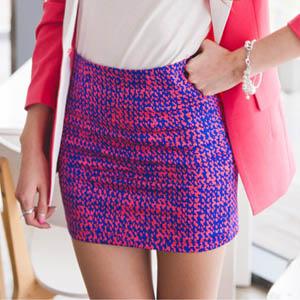 スカート通販〜KawaiCatブランドの【C-style】【50%OFF】【sk6130】インパクトある色合いがポイント♪ネオンカラーのカラフルモノグラムミニスカート