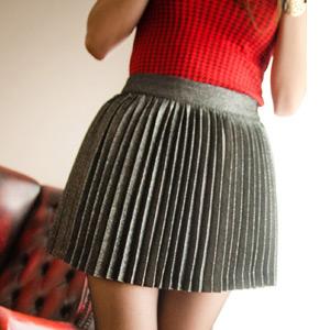 スカート通販〜KawaiCatブランドの【sk7639】存在感のあるCuteなアイテム☆ラメデザインプリーツスカート
