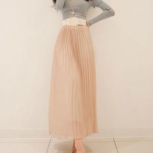 【50%OFF】【sk7881】エッジの効いたフェミニンMODEなスタイルに♪プリーツロングスカート