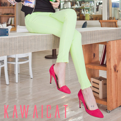 パンツ通販〜KawaiCatブランドの【50%OFF】【pt8197】トレンドの春カラーでコーデを盛り上げてくれるライムカラースキニーパンツ
