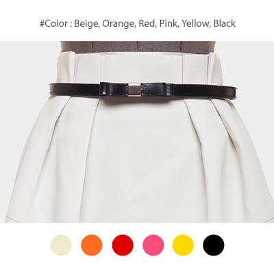 【50%OFF】【bl8227】ワンピースやスカートのワンポイントとして使える細いデザインの革リボンベルト(6色)