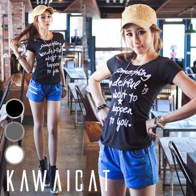 シャツ通販〜KawaiCatブランドの【50%OFF】【ts8318】様々なコーデに合うベーシックデザイン☆ジャケットのインナーとしても使える英文字プリント半袖Tシャツ