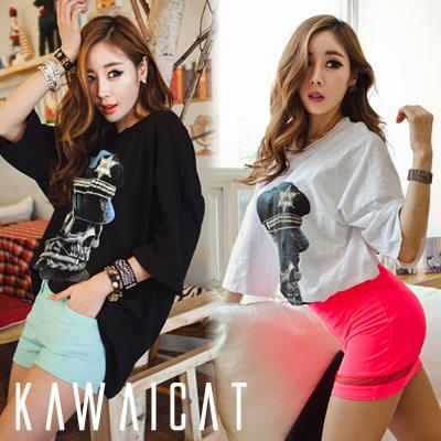 シャツ通販〜KawaiCatブランドの【50%OFF】【ts8465】オーバーサイズで楽に着こなせるスカルプリントルーズシルエットカットソー