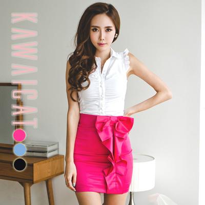 スカート通販〜KawaiCatブランドの【50%OFF】【sk8645】ほのかな光沢感で上品&セクシーな印象を与えてくれるリボンポイントシャーリングHラインスカート