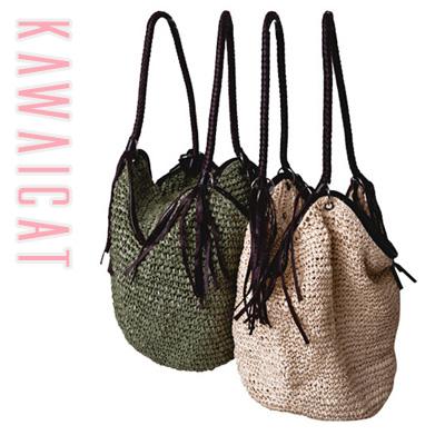 【50%OFF】【ba8797】デイリー使いからビーチ用としても幅広く使える大きめサイズで使いやすいバッグ♪編み込みバッグ