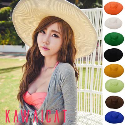 【50%OFF】【ha8811】リッチな雰囲気漂う女優帽☆紫外線対策や日よけにも使えるビビットカラーワイドバザーリゾートハット帽子(8カラー)