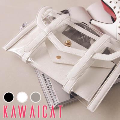 バッグ通販〜KawaiCatブランドの【50%OFF】【ba8847】トレンドのシースルーデザイン♪透けて見える中身が夏らしくてキュートなクリアデザインクラッチバッグ