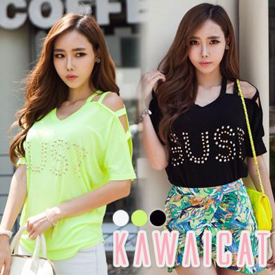 シャツ通販〜KawaiCatブランドの【C-style】【50%OFF】【ts8885】 カジュアルながらもセクシーに着こなせるスタッズ装飾開きポイントルーズTシャツ