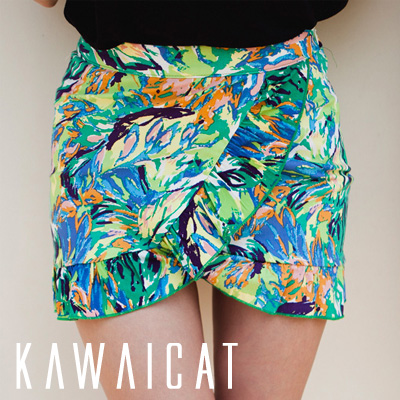 スカート通販〜KawaiCatブランドの【50%OFF】【sk8887】ビーチやリゾートにピッタリのデザイン♪美脚ラインを演出してくれるチューリップラインフリルポイント捺染スカート