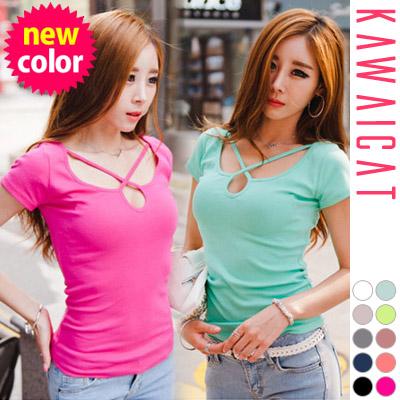 シャツ通販〜KawaiCatブランドの【C-style】【50%OFF】【ts8945】 KawaicatならではのセクシーTシャツ☆ヒモクロスデザインポイントホールカットTシャツ(6色)