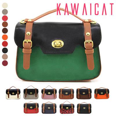 バッグ通販〜KawaiCatブランドの【50%OFF】【ba8973】 上下で別々の配色デザインがユニーク♪バックルポイントの配色デザインミニバッグ(10カラー)